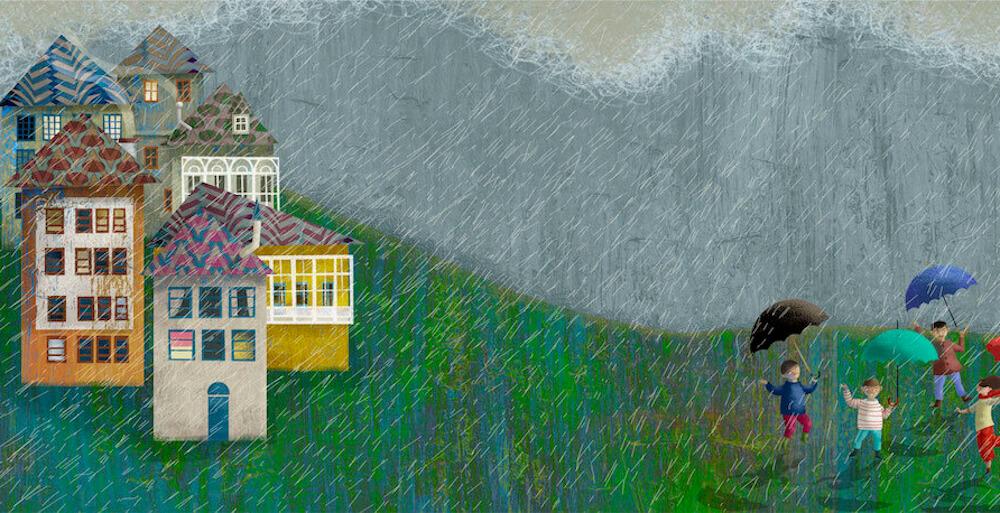 Ilustración casas y niños