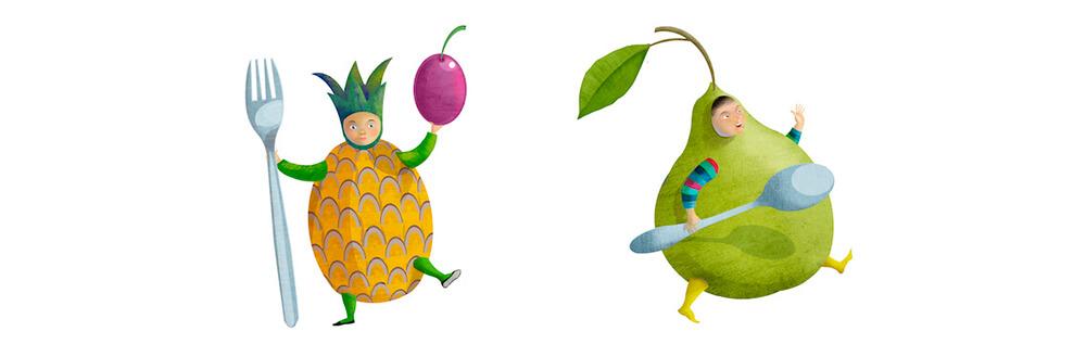 Niños piña y pera