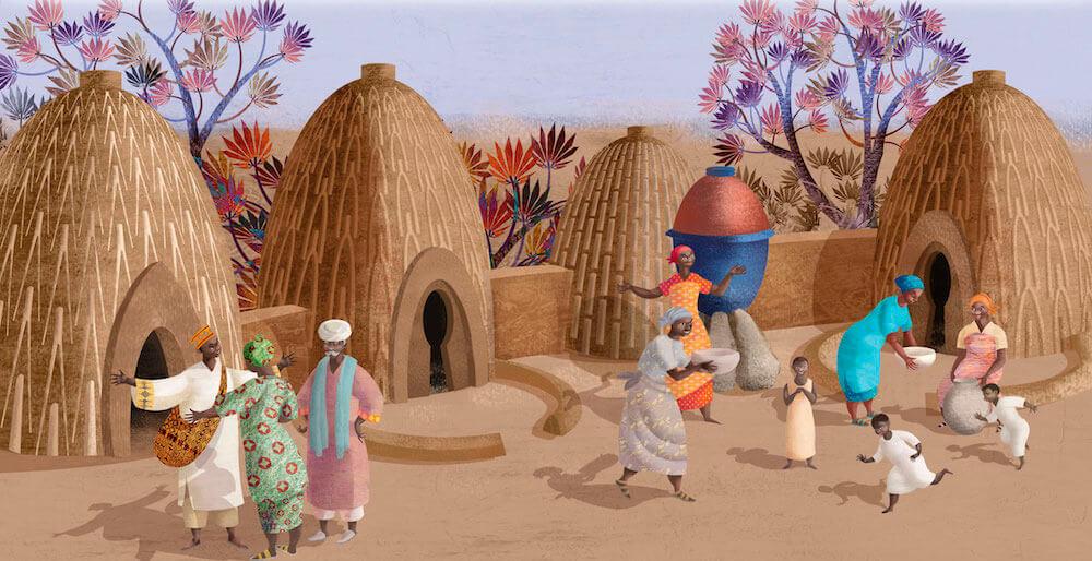 Ilustración cabaña África