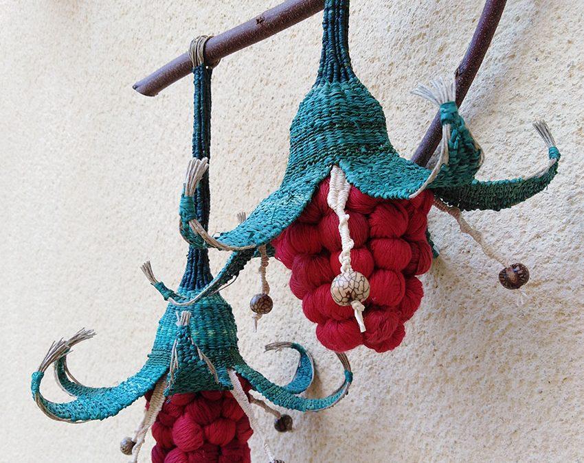 Nuevo tapiz-flor turquesa y rojo
